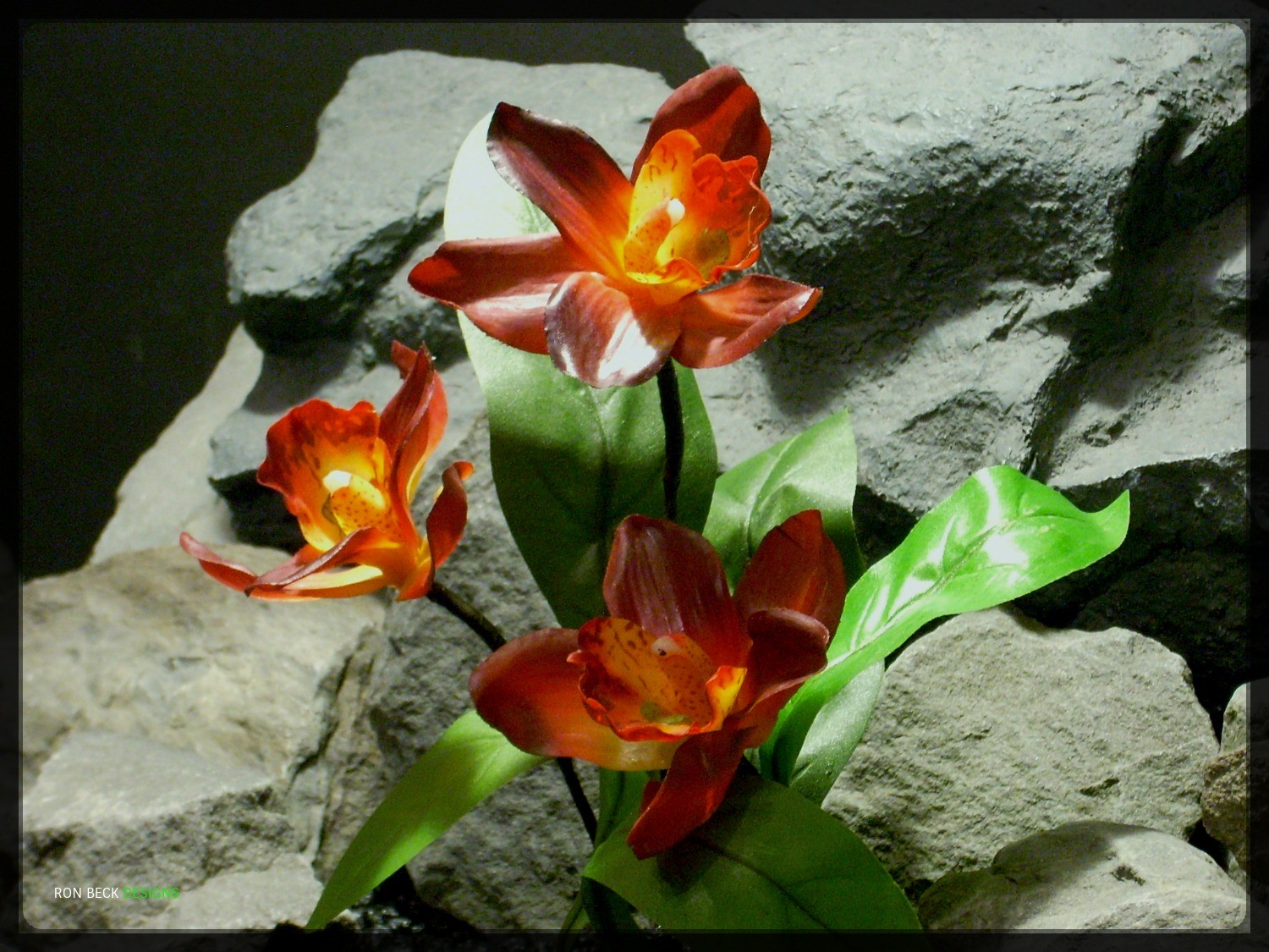 Artificial Red Orchid with leaves - Artificial Reptile Plant - srp327 2