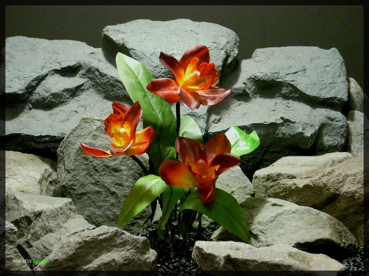 Artificial Red Orchid with leaves - Artificial Reptile Plant - srp327