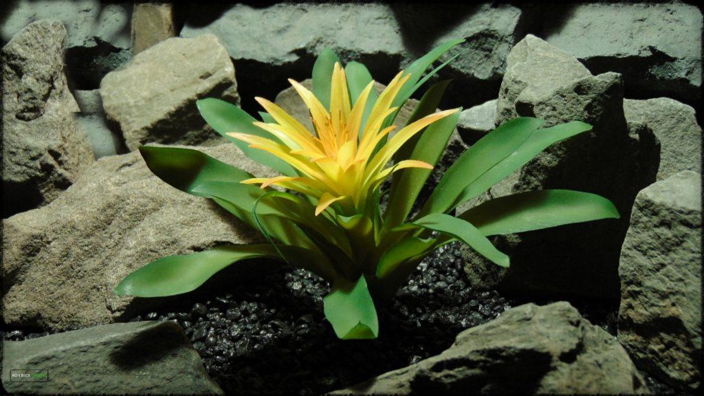 Artificial Guzmania Yellow Mirador Bromeliad - Reptile Habitat Plant - PRP391 2