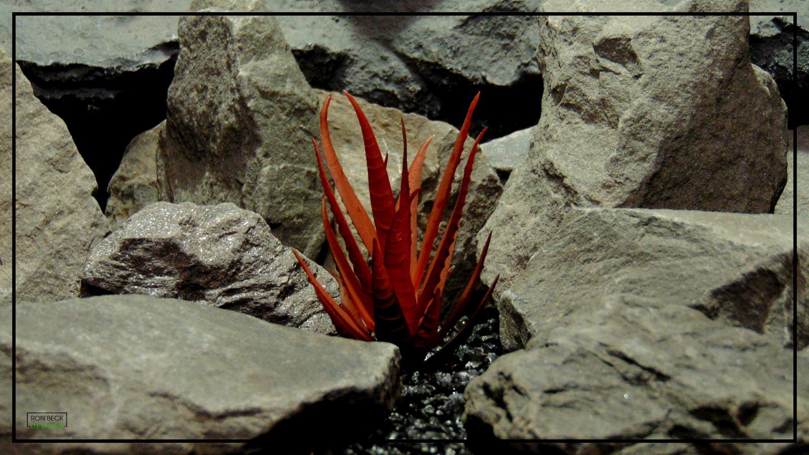 Artificial Aloe Plant Burnt Apple Red - Artificial Reptile Desert Habitat Plant prp423